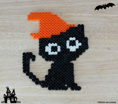 Perle Hama à repasser chat noir Halloween black cat pearl