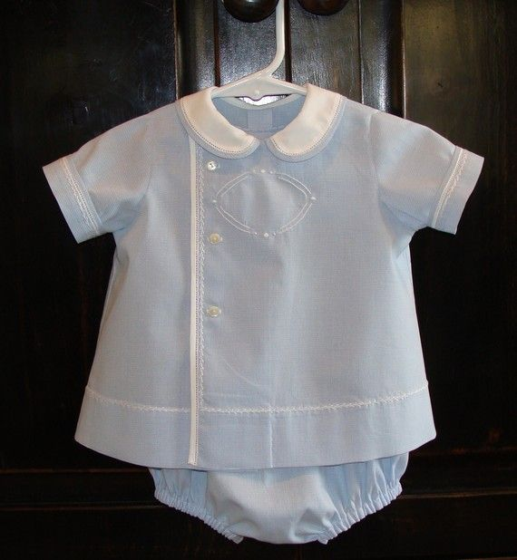 Blue micro gingham baby boy bubble and top by AuntSchonie on Etsy