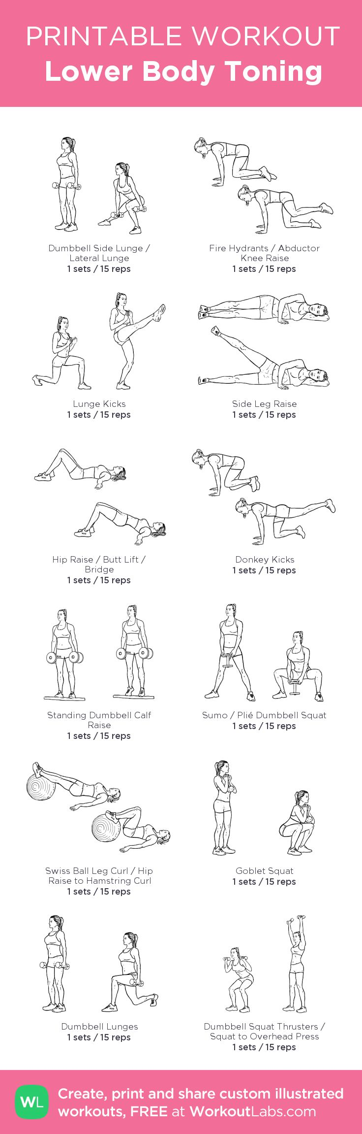 Lower Body Toning – my custom workout created at WorkoutLabs.com • Click through to download as printable PDF! #customworkout