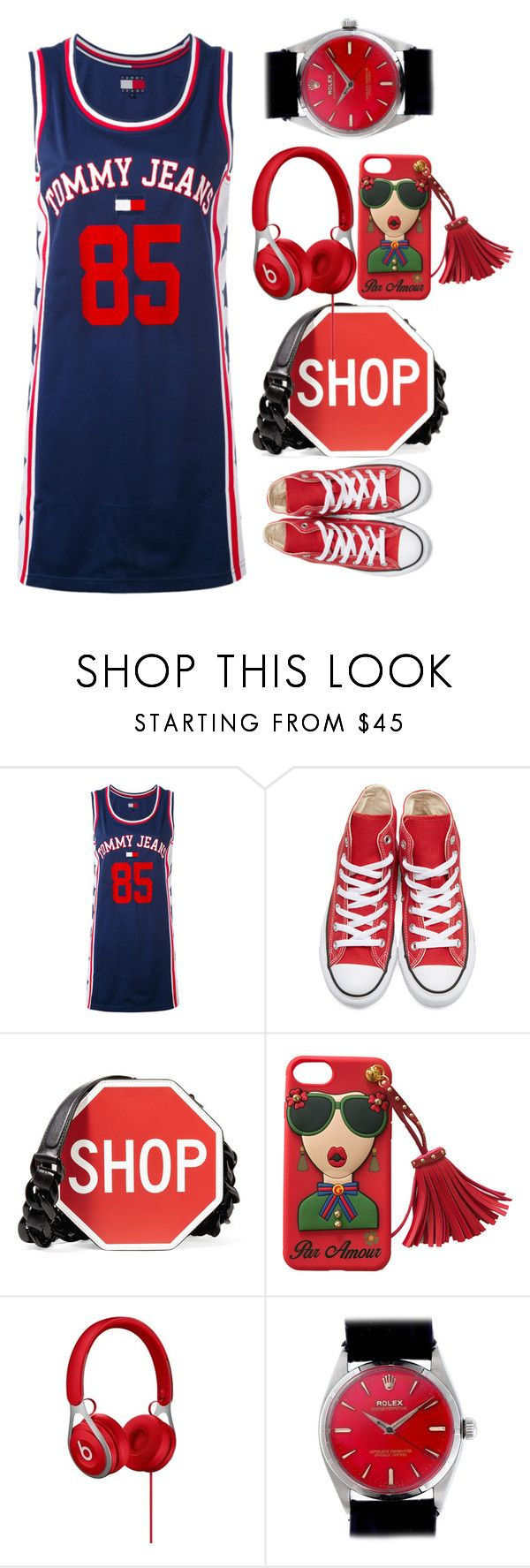 """Be positive thingking"" by nadialestari99 ❤ liked on Polyvore featuring Tommy Hilfiger, Converse, Moschino and Rolex"