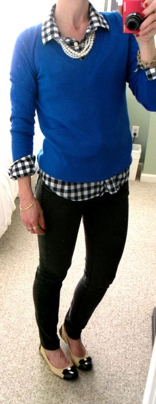 J. Crew Factory royal blue v-neck sweater and navy and white gingham shirt, pearl necklace, black skinny jeans, cap toe flats