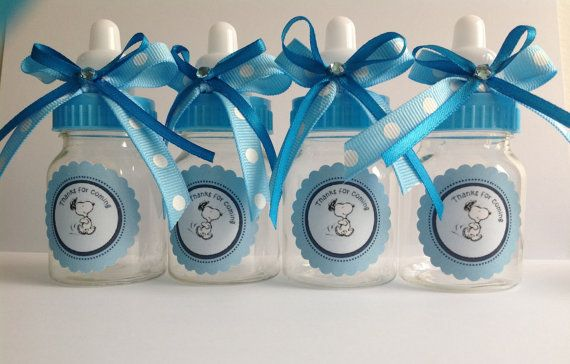 Snoopy baby bottles baby shower favors by Marshmallowfavors, $22.00. Customizable to your theme.