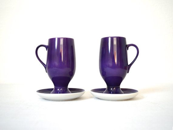Two Vintage Lagardo Tackett Purple Coffee Cups by MidModMomStore, $20.00