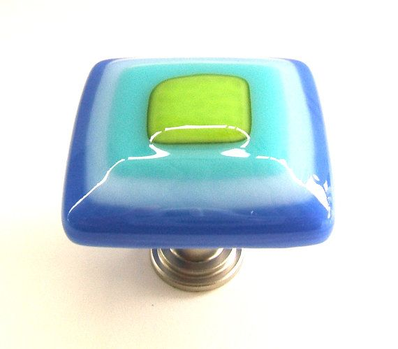 Electric Royal Blue, Turquoise, Lime Green Glass Knob by UneekGlassFusions, $24.00