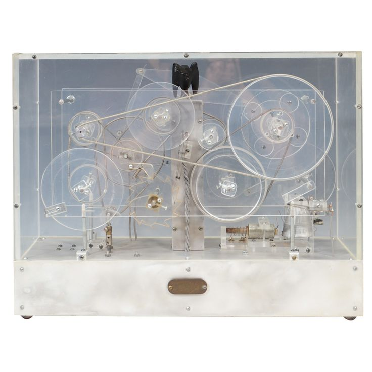 Machine Age Modernist Lucite Kinetic Sculpture w/ Moving Gears, USA  c. 1940s.