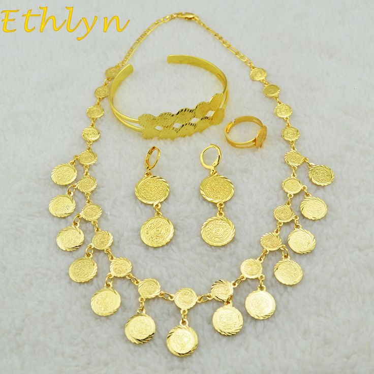 Ethlyn Classic 18KGP Arab Bridal Middle East,Turkey,Egypt,African Vintage Islamic coins Wedding set Necklace Bracelet Earring
