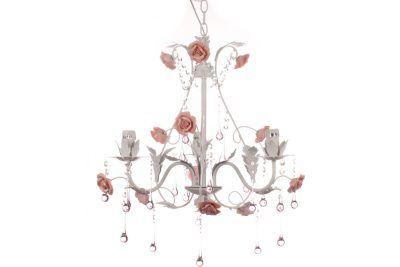 Φωτιστικό κρεμαστό 3 Χ Ε14 Φ60Χ56 εκ. χρ. Λευκό με κρύσταλλα & τριαντάφυλλα χρ. ροζ