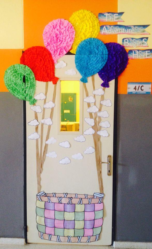 Bu sene yaptığım sınıf kapısı macera temalarım BALON MACERASI BURADA BAŞLIYOR  My classroom door decoration in the theme of THE ADVENTURE BEGINS HERE!
