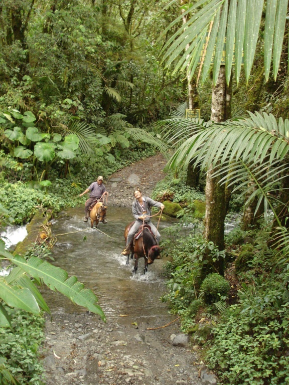 Panama...the country, deep in the jungle, crossing a river on horseback!