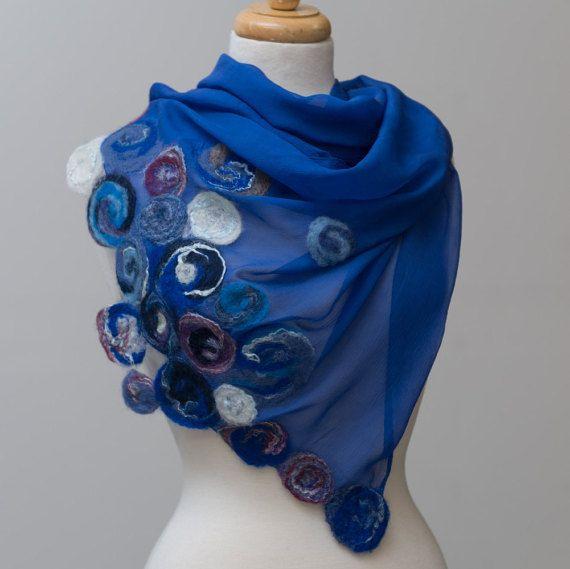 Nuno felted scarf, felted scarf,felt scarf, nuno felt, wool, silk, nunofelt, Blue, floral pattern, white, purple, navy blue, roses