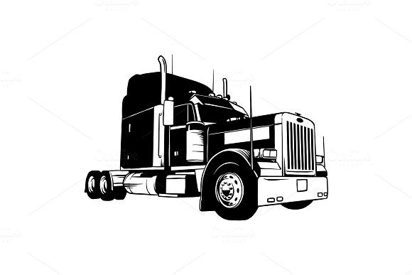 American Truck Black And White By Digital Clipart On Creativemarket Digital Clip Art Clip Art Black And White