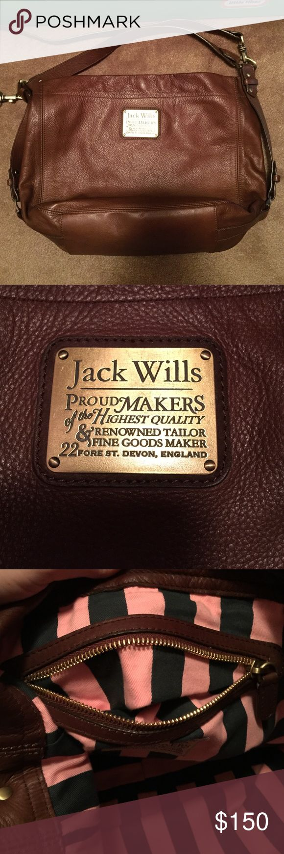 Jack Wills Leather Bag Like new condition Jack Wills Leather Bag. Inside pocket is sewn into the back, making it mostly un-usable except for a pen or chapstick. There is also a pen mark on tag to prevent returning to the store. Like new condition and so beautiful! Jack Wills Bags Hobos