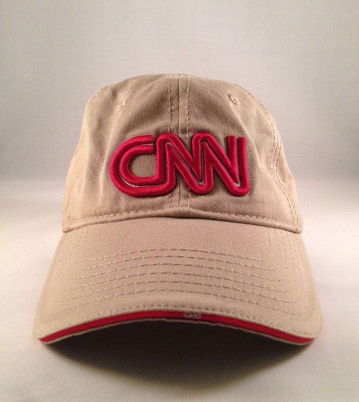 CNN TV Television News Station Ball Cap Hat Beige