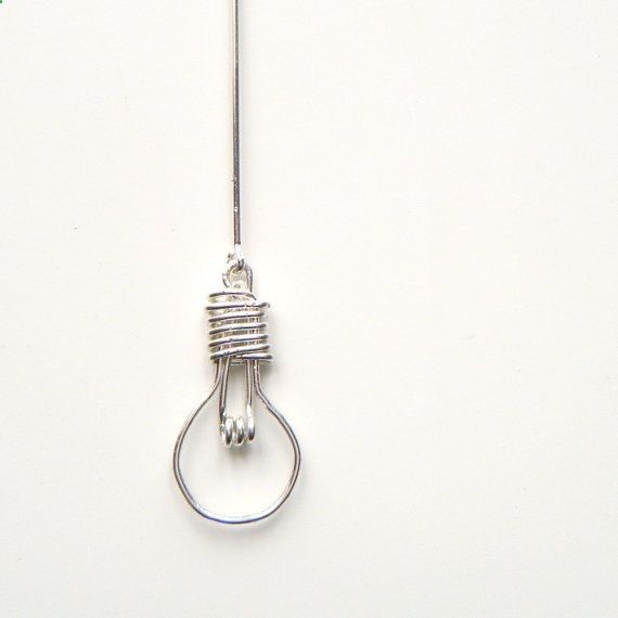 Light Bulb Necklace - Handcrafted Wire Work Pendant, Unusual Jewelry, Made to Order - Light Bulb via Etsy