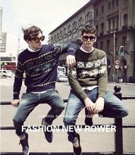 M-XXL Autumn Winter Fashion O-Neck Reindeer Men Knitted Sweater Plus Size Crewneck Long Sleeves Christmas Deer camisolas(China (Mainland))