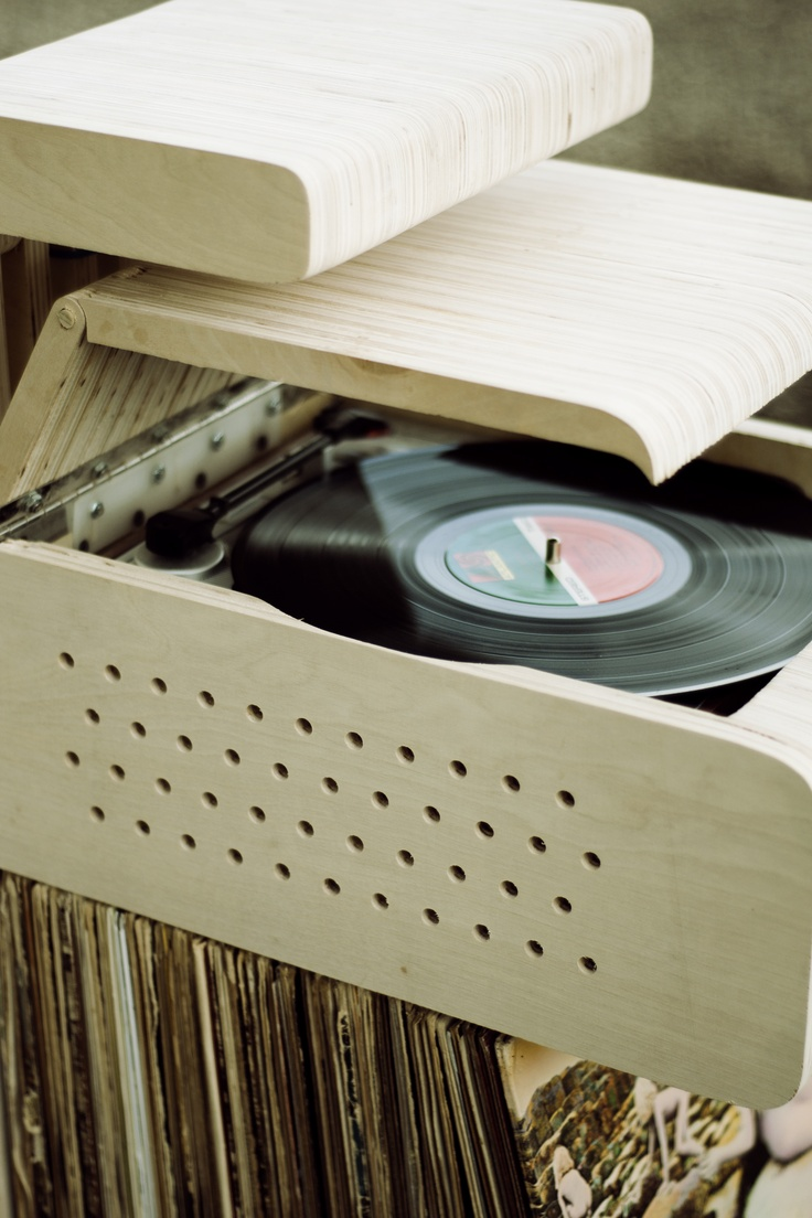 Record Stand with a built-in Record Player