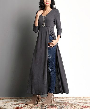 Look at this #zulilyfind! Charcoal Empire-Waist Split-Hem Tunic #zulilyfinds