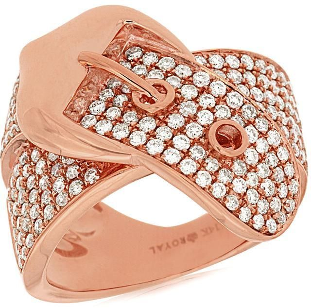 Ora Rosa 1 4 9 CT Diamond 14K Rose Gold Belt Buckle Ring by Royal