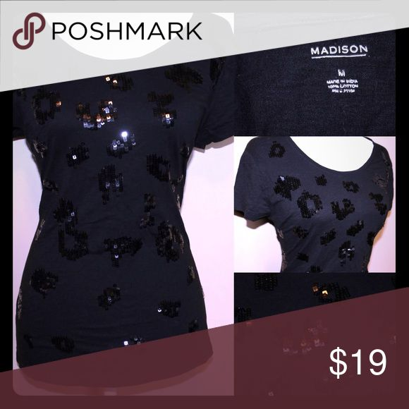 MADISON Black T shirt with sequin cheetah print Sequin Cheetah Print Short Sleeve t shirt madison Tops Tees - Short Sleeve