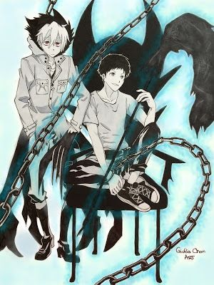 Giulia Chan Art   Servamp pair: KURO&MAHIRU  black and white version