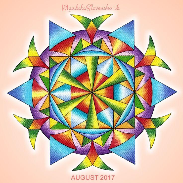 Mandala August 2017. Afirmácia: Pravda srdca chráni. Som v bezpečí. #mandala #mandalaslovensko #mandalaslovakia #mandalaaugust #healingart #sacredgeometry #newearth #art #handmade #affirmations