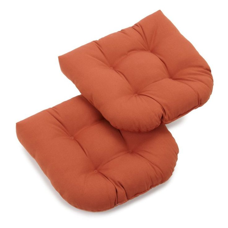 Blazing Needles Twill U-Shaped Indoor Chair Cushion - Set of 2 Spice - 93184-2CH-TW-SP