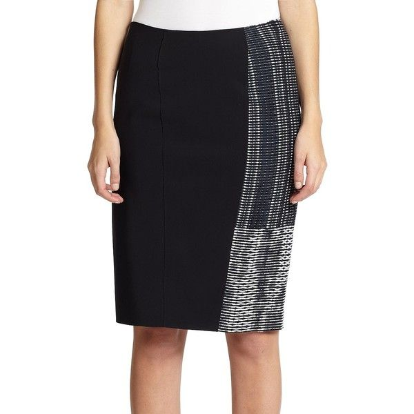 Elie Tahari Kim Skirt (141 CAD) ❤ liked on Polyvore featuring skirts, apparel & accessories, knee length pencil skirt, long pencil skirt, elie tahari, pencil skirt and elastic waist pencil skirt