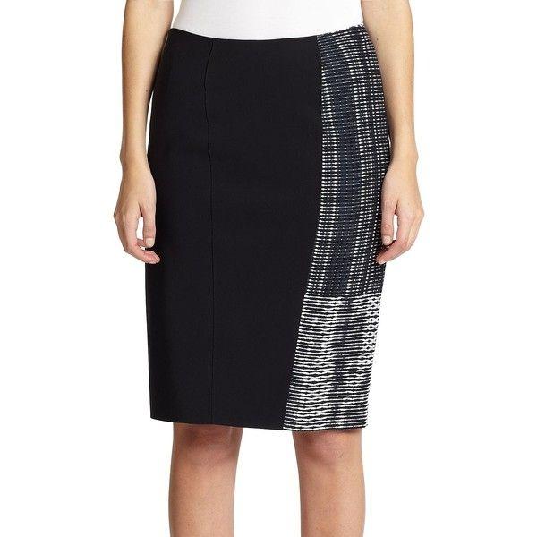 Elie Tahari Kim Skirt (141 CAD) ❤ liked on Polyvore featuring skirts, apparel & accessories, knee length pencil skirt, long pencil skirt, elie tahari, pencil skirt and elastic waist pencil skirt