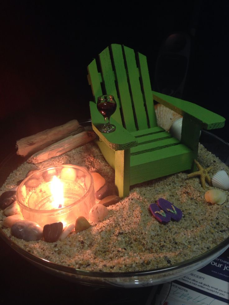 Mini desktop beach vacation with fire pit Filed a huge jumbo margarita glass with sand. complete with mini flip flops, wine glass and star fish. Rock fire pit with votive. Mini Adirondack chair found unpainted on etsy.