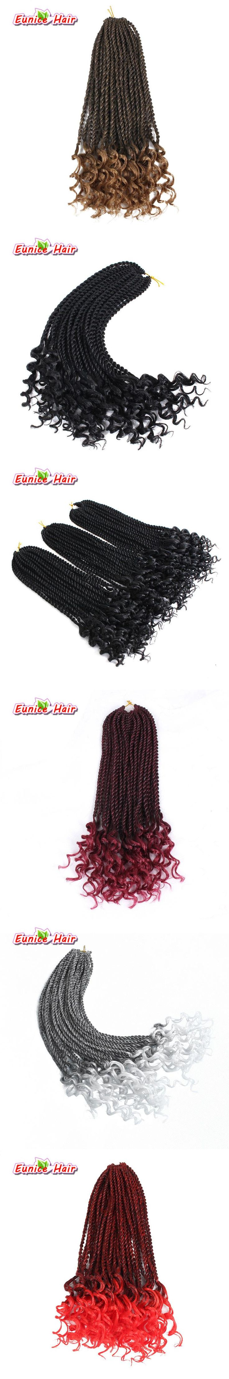 New Crochet Braids 16 inch ombre burgundy Synthetic Pre-curled Crochet Hair Extensions Curly Senegalese Twist Braid Hair