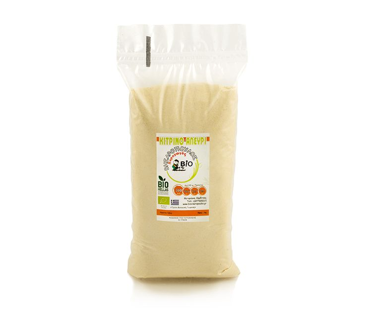 www.deliinabox.gr Organic yellow flour rich in proteins. Ideal for pies, bread, suitable for thin pasta such as ravioli.