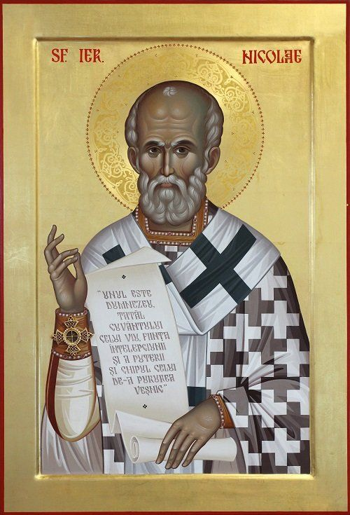 - Sf. Ier. Nicolae cu sfintele lui moaște, 55X80 cm, foita de aur