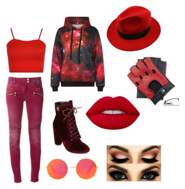 """""""6"""" by midnighthillzy on Polyvore featuring Catherine Catherine Malandrino, Balmain, WearAll, WithChic, Revo and Lime Crime"""
