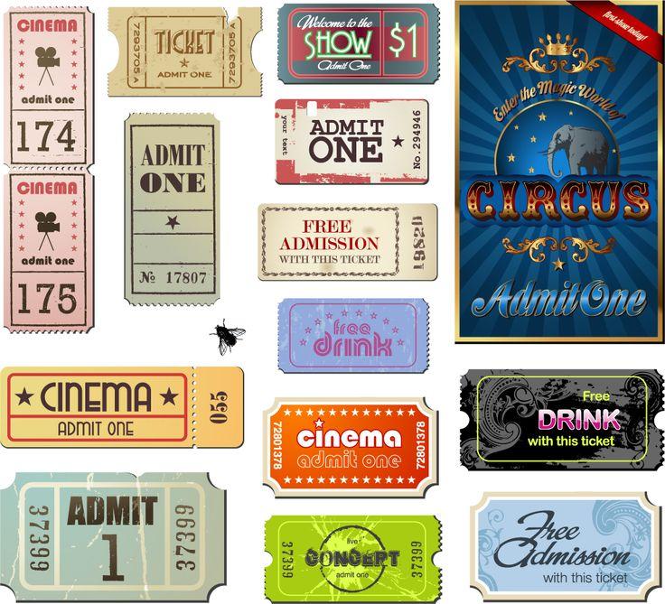 ヴィンテージな映画チケットの見本 Vintage Movie Ticket Vector イラスト素材Enca…