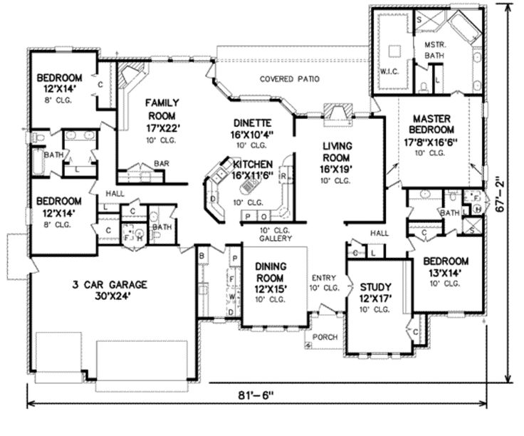 Traditional Style House Plan - 4 Beds 3.5 Baths 3520 Sq/Ft Plan #65-155 Floor Plan - Main Floor Plan - Houseplans.com