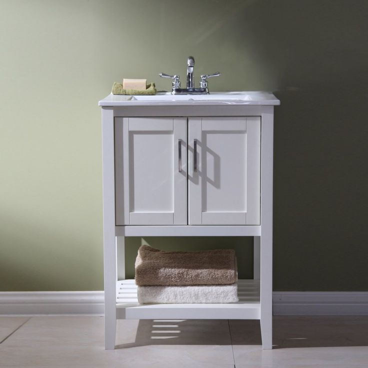 Legion Furniture White Integral Single Sink Bathroom Vanity with Ceramic Top (Common: 23-in x 10-in; Actual: 23.25-in x 10.5-in)