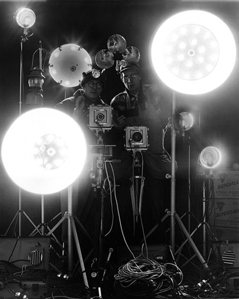 Famous for his large scale night shots of locomotives, photographer O. Winston Link shot with a 4×5 Graflex Camera, using up to 60 flash bulbs, requiring up to 2 days setup.
