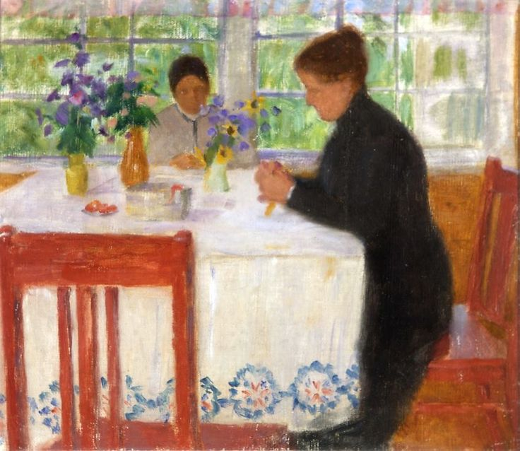 Maria Wiik (Finnish painter) 1853 - 1928 Sisäkuva (Interior), s.d.  oil on canvas mounted on cardboard 27 x 30 cm.