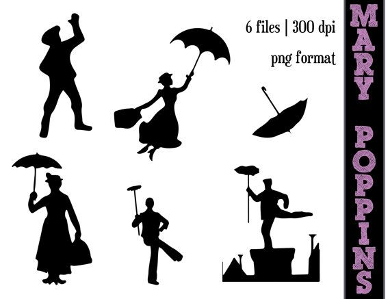 Mary Poppins Silhouettes // A spoonful of sugar Silhouette // Disney Clipart // Umbrella