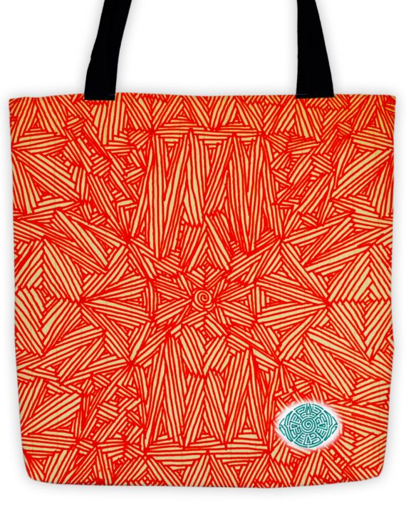 Oculus Orange Scribble Tote by: Eyes of Beijing