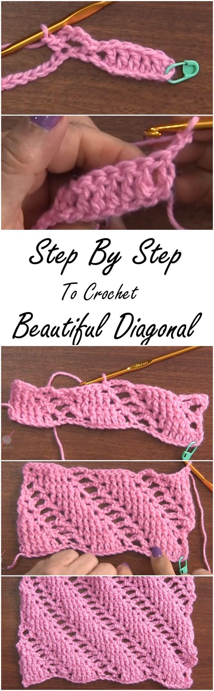 diagonal stitched bars crochet stitch photo tutorial
