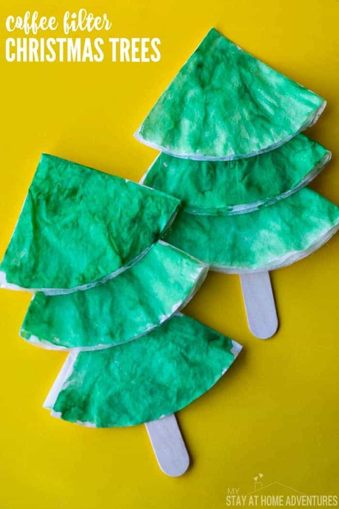 Coffee Filter Christmas Kids Craft by My Stay At Home Adventures | The best ever kids Christmas Craft Ideas. So many fun ideas to get the kids involved in the holiday fun!