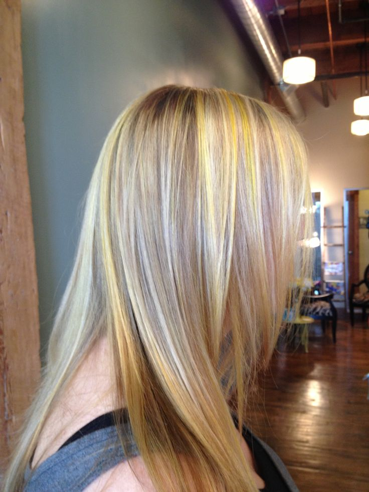 Bright blonde and neon yellow highlights | Hair ideas ...