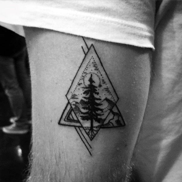 Masculine Geometric Mens Small Tree Thigh Tattoo