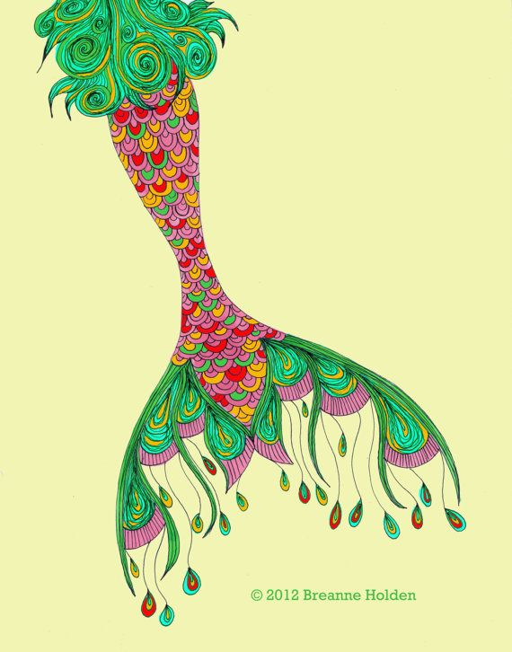 """Whimsical Mermaid Tail Painting Illustration Archival Print 8 X 10 """"Ruby"""""""