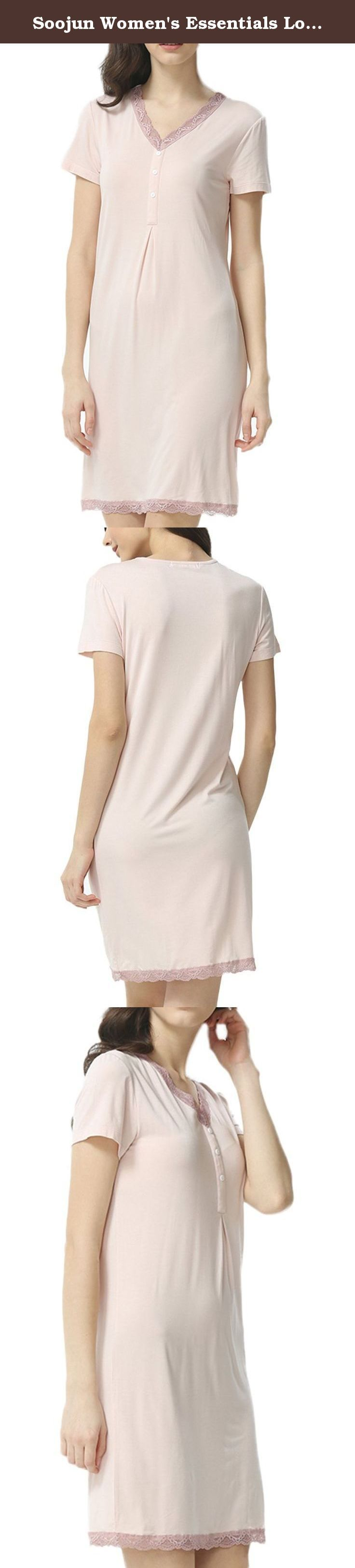 Soojun Women's Essentials Lounger Cute Nighty Nightgown Short Sleeve, Nude, US 2. This essentials long & short sleeve night dress features a V-neck and super soft cotton for ultimate comfort, Cute lace neckline and hem. We use post service (USPS, etc), express service (Fedex, DHL, UPS etc) to ship your package. You can easily get estimated delivery date when you place the order. Please feel free to contact us for any problems by email. .