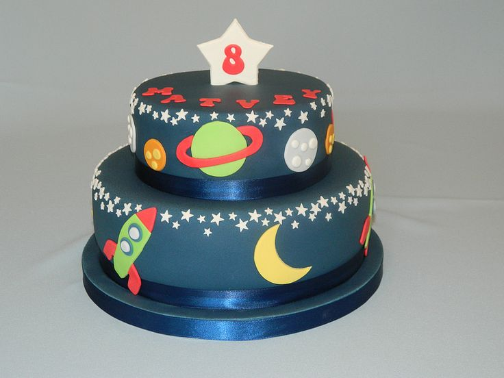 Space cake spaces cake and birthdays for Cake decorations outer space