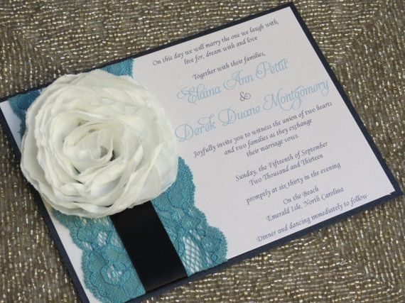LEXY Teal Black and White Wedding Invitations  by peachykeenevents, $4.50