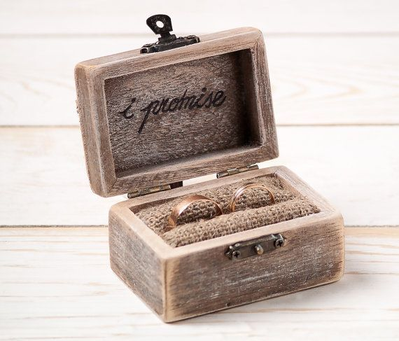Wedding Ring Box Ring Holder Pillow Bearer Box with Hearts Wooden Engagement Ring Box Burlap and Lace Love Valentine's Day Rustic Unique on Etsy, $31.65 CAD