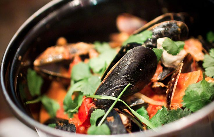 ... – Mussels, tomato coconut cream, smoked chili & lime, cilantro